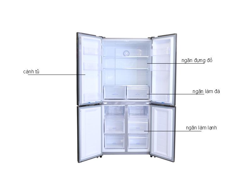 Tủ Lạnh Aqua AQR-IG525AMGS 456 lít Inverter - Màu Bạc