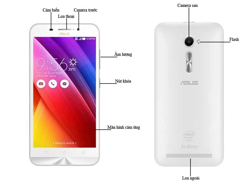 Điện thoại di động Asus Z00D Zenfone 2 - Màu Trắng