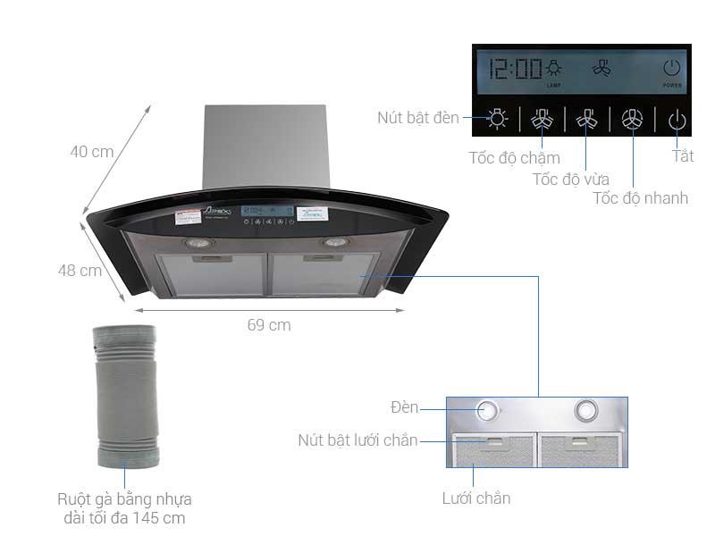 Máy hút mùi kính cong Apex APB6680-70C