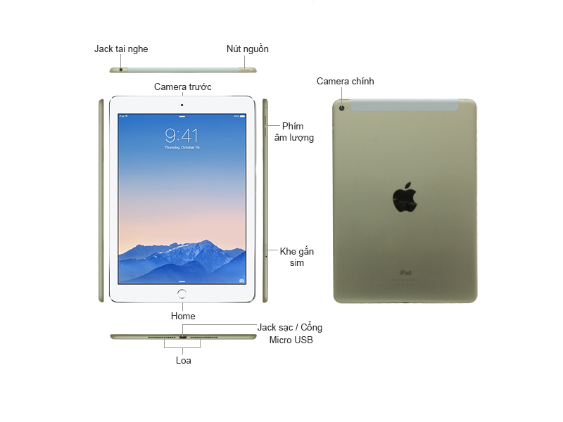 iPad Air 2 Wifi Cellular 32GB MNVR2THA Màu Gold