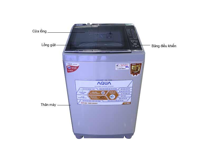 Máy Giặt Aqua AQWFW115ATS 11.5 Kg - Bạc