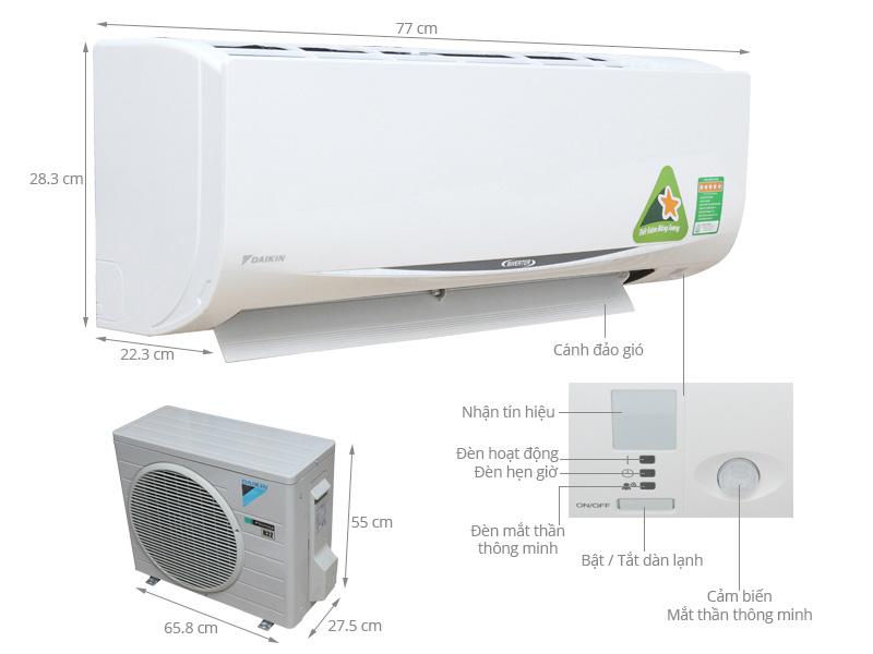 Điều hòa 1chiều Daikin FTKC35RVMV 11900BTU Inverter