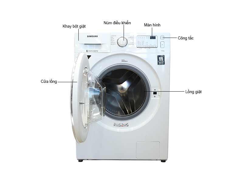 Máy Giặt Cửa Trước Samsung 7.5 Kg WW75J4233IWSV Inverter