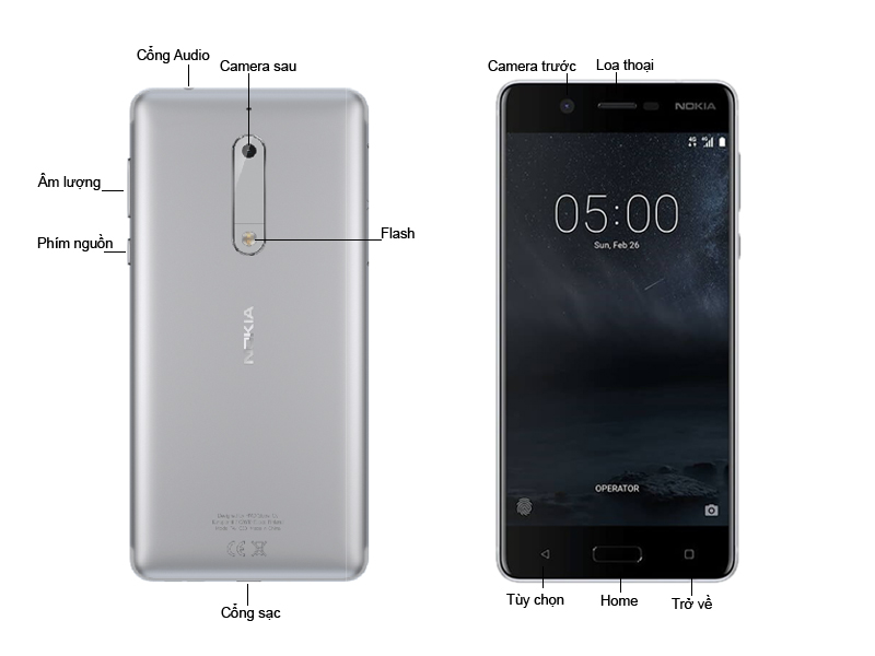 Điện Thoại Nokia 5 Bạc