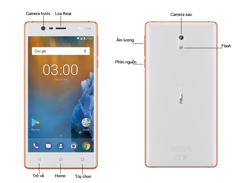 Nokia 3 - Màu Trắng Viền Cam