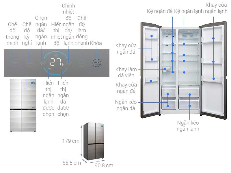 Tủ Lạnh Side By Side Aqua 518 Lít AQR-IG585AS Inverter