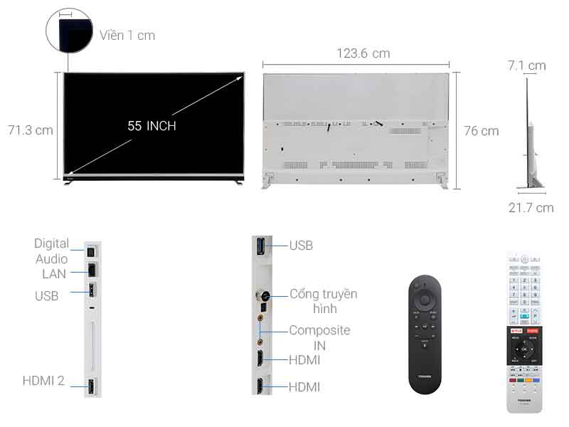 TIVI LED Toshiba 4K 55U9750 - 55 inch