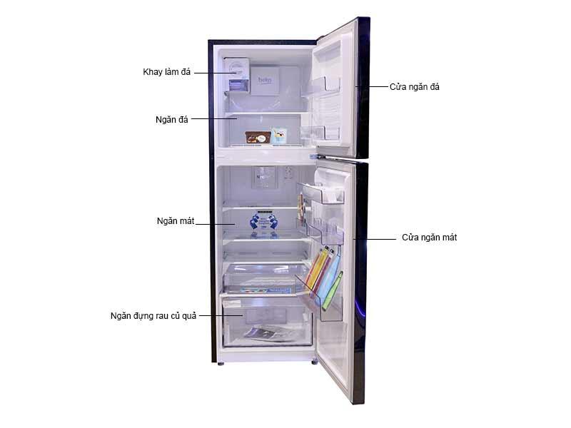 Tủ Lạnh Beko RDNT250I50VWB -221lit - Màu Đen Inverter