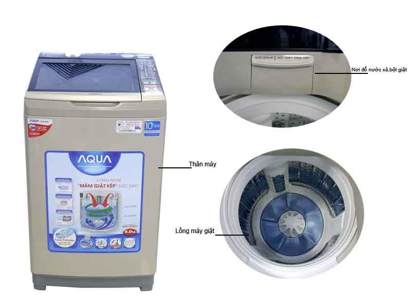 Máy Giặt Aqua AQWDW90ATN  Inverter - 9.0kg - Màu Bạc