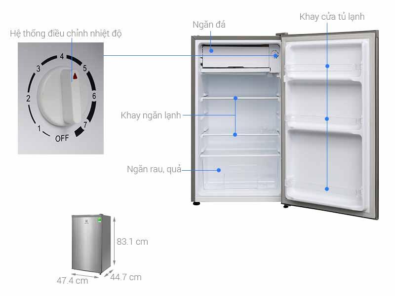 Tủ Lạnh Electrolux EUM0900SA 90 Lít Xám Nhạt