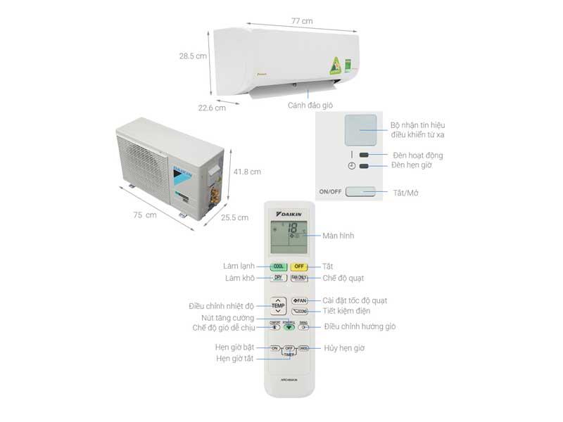 Điều Hòa Daikin ATKQ25TAVMV 8.525 BTU 1 Chiều Inverter