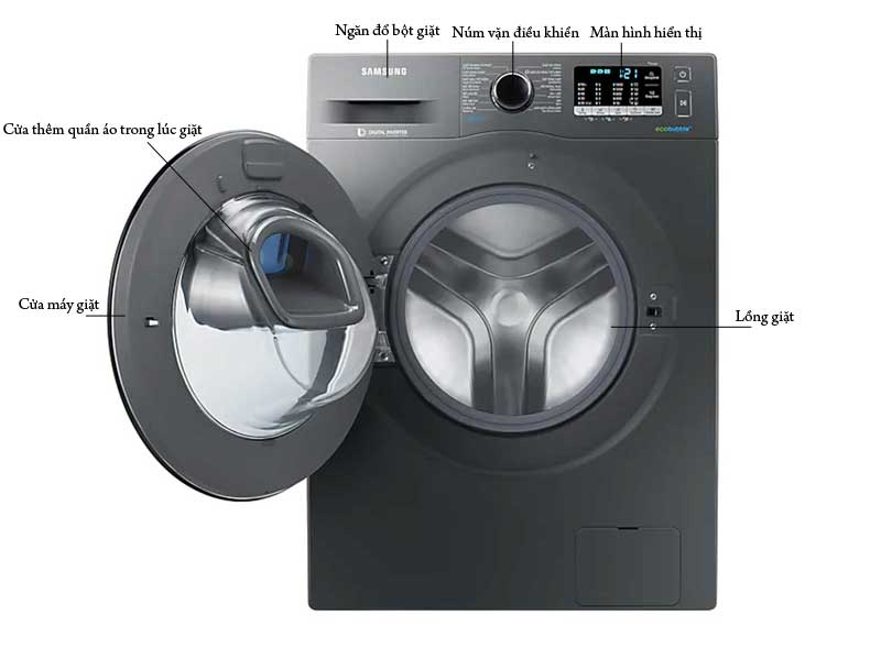Máy Giặt Samsung WW10K54E0UXSV 10kg Inox Đen Inverter