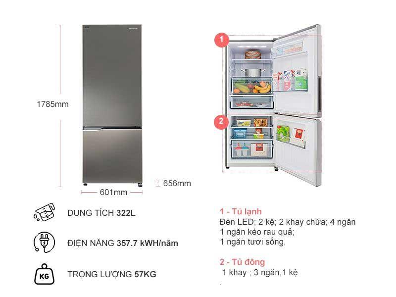 Tủ Lạnh Panasonic NR-BV360QSVN  322L Inverter