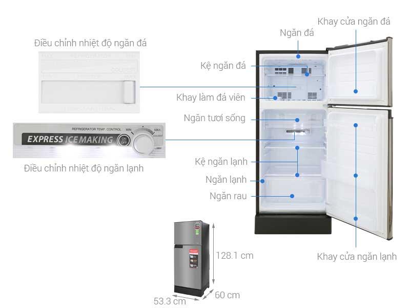 Tủ Lạnh Sharp SJ-X196E-SL 180 Lít Bạc