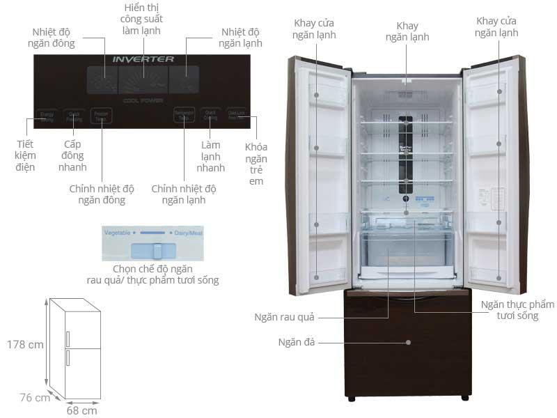 Tủ Lạnh Hitachi FWB475PGV2GBK 382 Lít