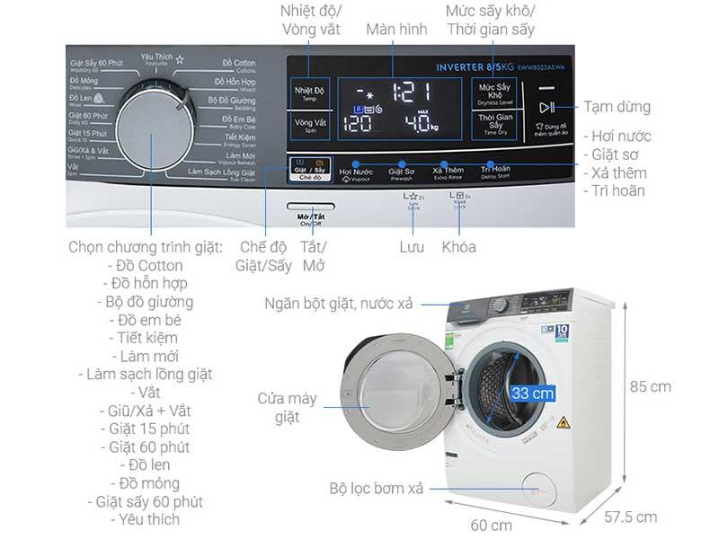Máy Giặt Sấy Inverter Electrolux EWW8023AEWA - Giặt 8.0 kg - Sấy 5.0kg