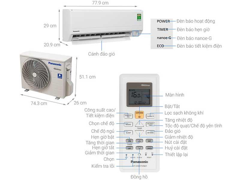 Điều Hòa Panasonic CS-PU12WKH-8M 12.000BTU 1 Chiều Inverter