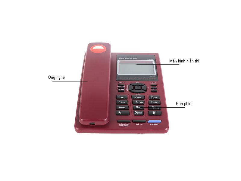 Máy điện thoại để bàn Widecom VN949 ĐỎ - VN949R